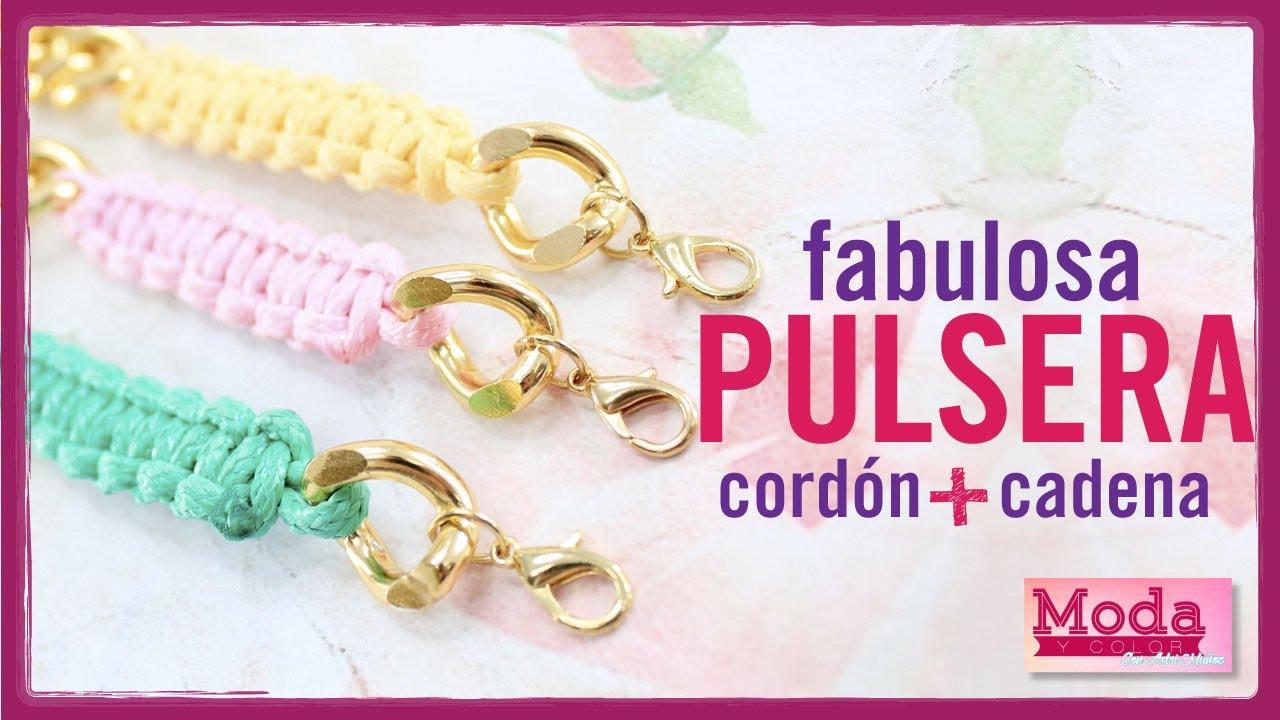 c58ff33f0a8d Cómo hacer una pulsera con cadena y cordón Kit 23187 - YouTube