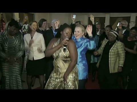 Hillary Clinton dances in Pretoria, South Africa