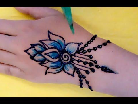 ᴴᴰ Easy DIY: Simple Beautiful Mehndi Henna blue colour Design Tutorial (jasa hena indo)