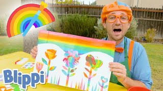Blippi Creates Spin Art & Paints! | Learns Rainbow Colors For Kids | Educational Videos For Toddlers