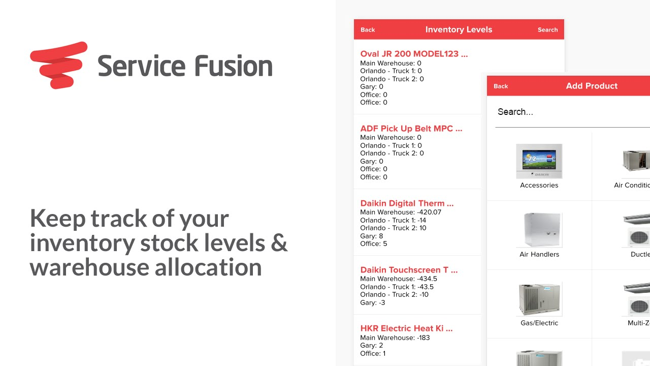 service fusion keep track of inventory stock levels warehouse