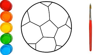 How to Draw Football Drawing and Coloring for kids | Football Coloring Pages Learn Colors for kids
