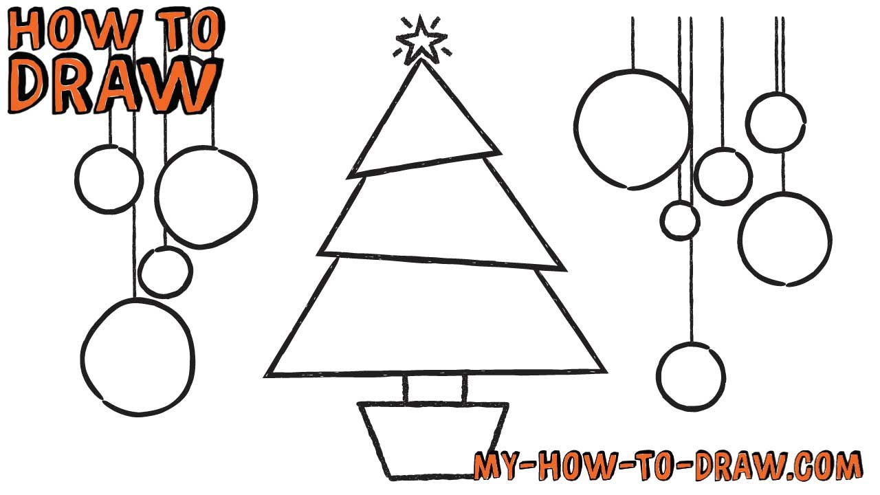 How to draw a Christmas Tree Card - Easy step-by-step drawing ...