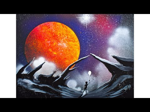 Scape with Galaxy Space Planet Acrylic Beginning Painting Tutorial Liquitex Spray paint