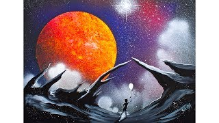 Easy how to make this Galaxy Lanscape using Acrylic Paints and Liqu...