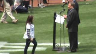 Charice Pempengco sings the National Anthem at Dodgers Opening Day 2009!