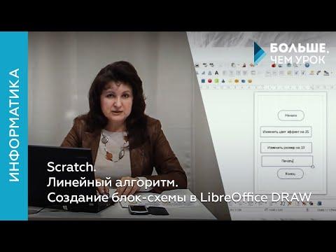 Scratch. Линейный алгоритм. Создание блок-схемы в LibreOffice DRAW