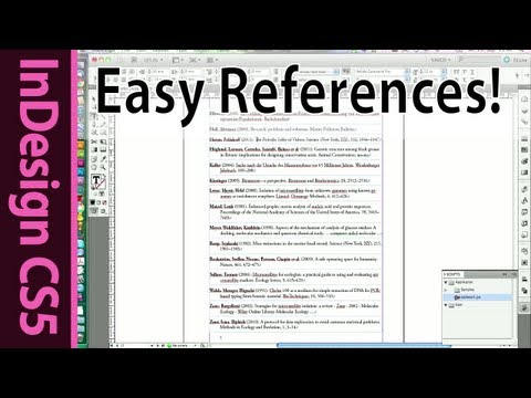 InDesign - Easy Reference list and citation of scientific papers - CS5 Tutorial (Part 8)