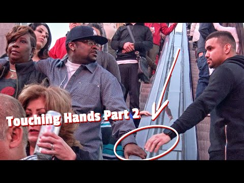 Touching Strangers Hands On Escalator In Las Vegas! (PART 2)