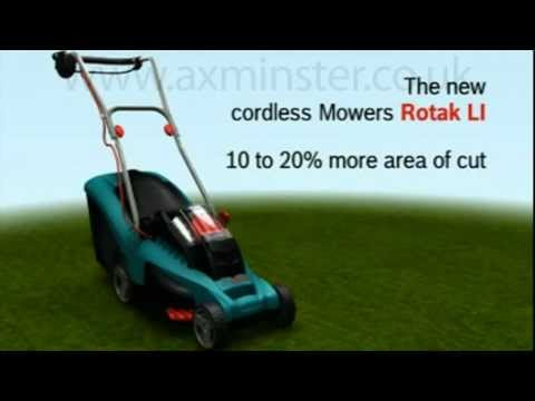 bosch rotak ergoflex cordless li ion lawn mower 37li 43li youtube. Black Bedroom Furniture Sets. Home Design Ideas