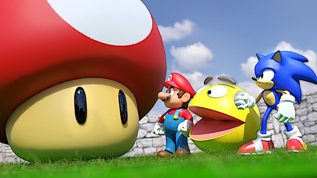 Pacman and Mario vs Giant Sonic