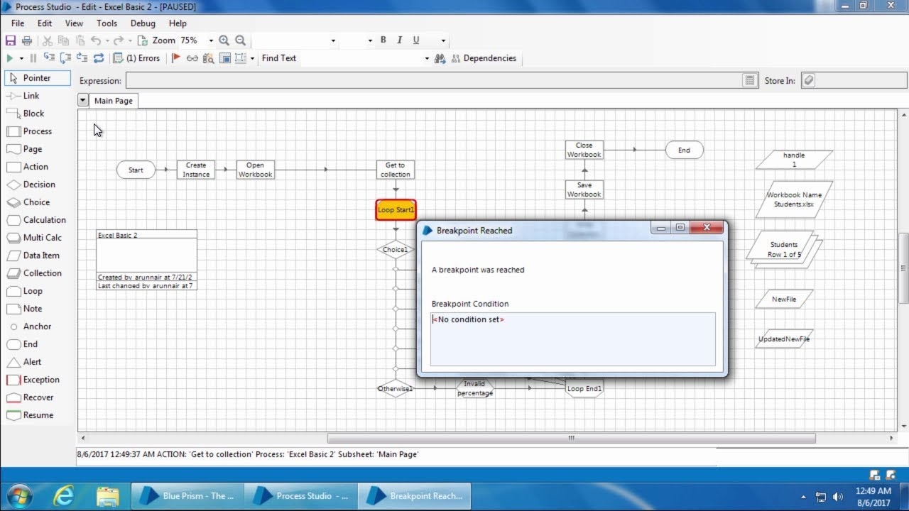 Blue Prism Video Tutorial   021   Debugging basics - Stepping, breakpoint  and set next stage