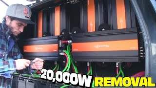 REMOVING 20,000 Watts Worth of AMPLIFIERS | EXOs BC3500D Bass Amplifier Un-Install w/ Dual Amp Input