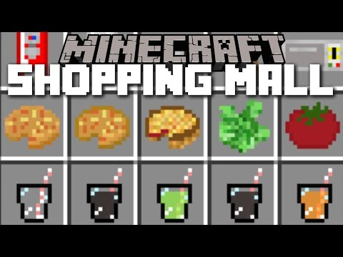 Minecraft SHOPPING MALL MOD / SUBWAY, MCDONALDS AND CINEMA FOOD TO GO!! Minecraft