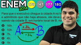 ENEM 2014 Matemática #45 - Fuso Horário em Viagens de Avião (questão bugante)