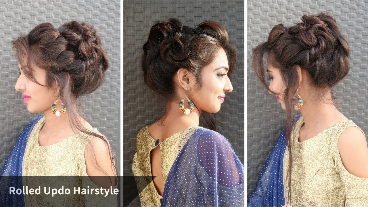 Heatless Messy Rolled Updo Hairstyle For Eid Hairstyle For