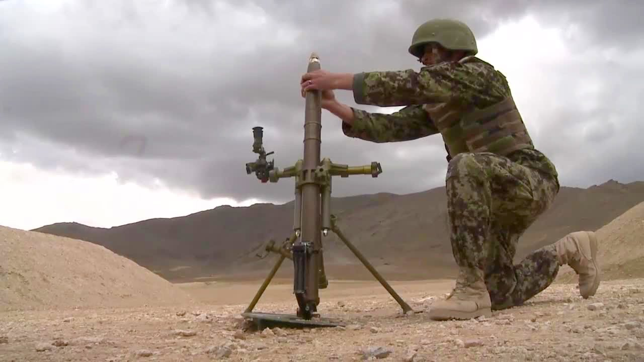 Afghan National Army Soldiers – 60mm Mortar Live Fire Final Test