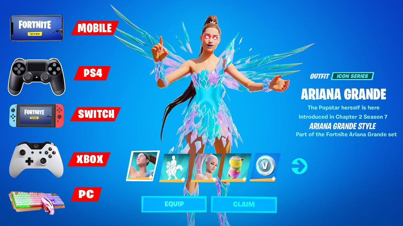 How to Get Ariana Grande in Mobile , PS4 , Nintendo Switch, Playstation 5 , Xbox Console in Fortnite