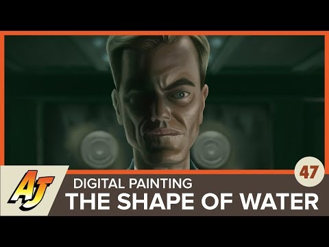 Artcast 47: Digital Painting Of Michael Shannon From The Shape Of Water