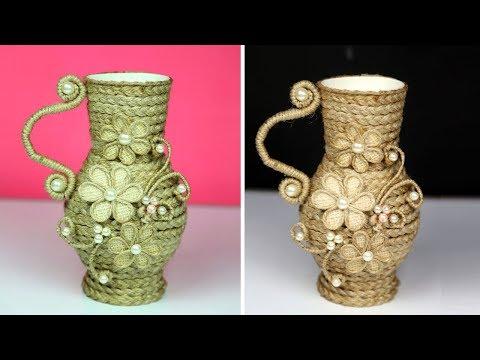 Very unique Jute craft ideas flower vase decoration   Room Decor   Home decorating ideas handmade