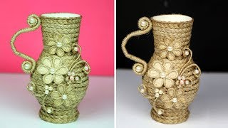 Very unique Jute craft ideas flower vase decoration | Room Decor | Home decorating ideas handmade