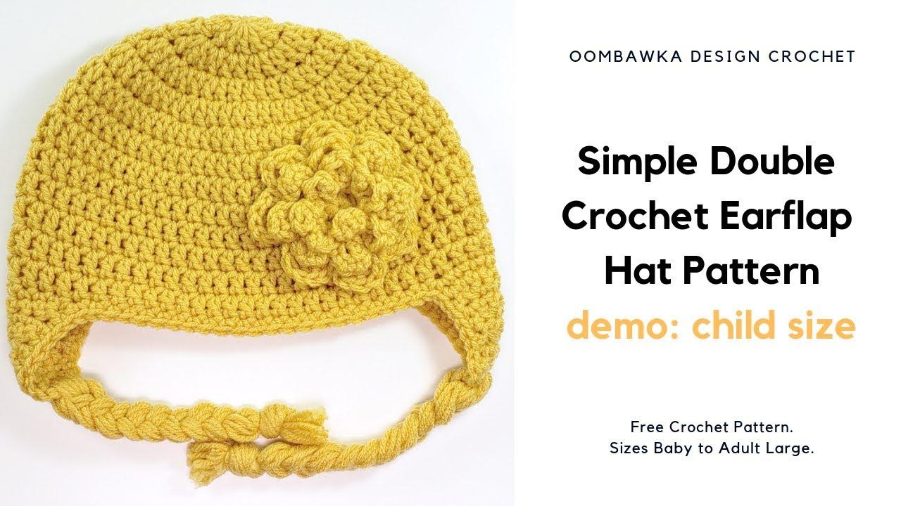 Simple Double Crochet Earflap Hat Pattern Child Size Demo Free