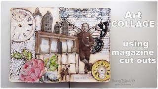 How to Build Collage Scenery using Magazine Cut Outs Full Process Video ♡ Maremi's Small Art ♡