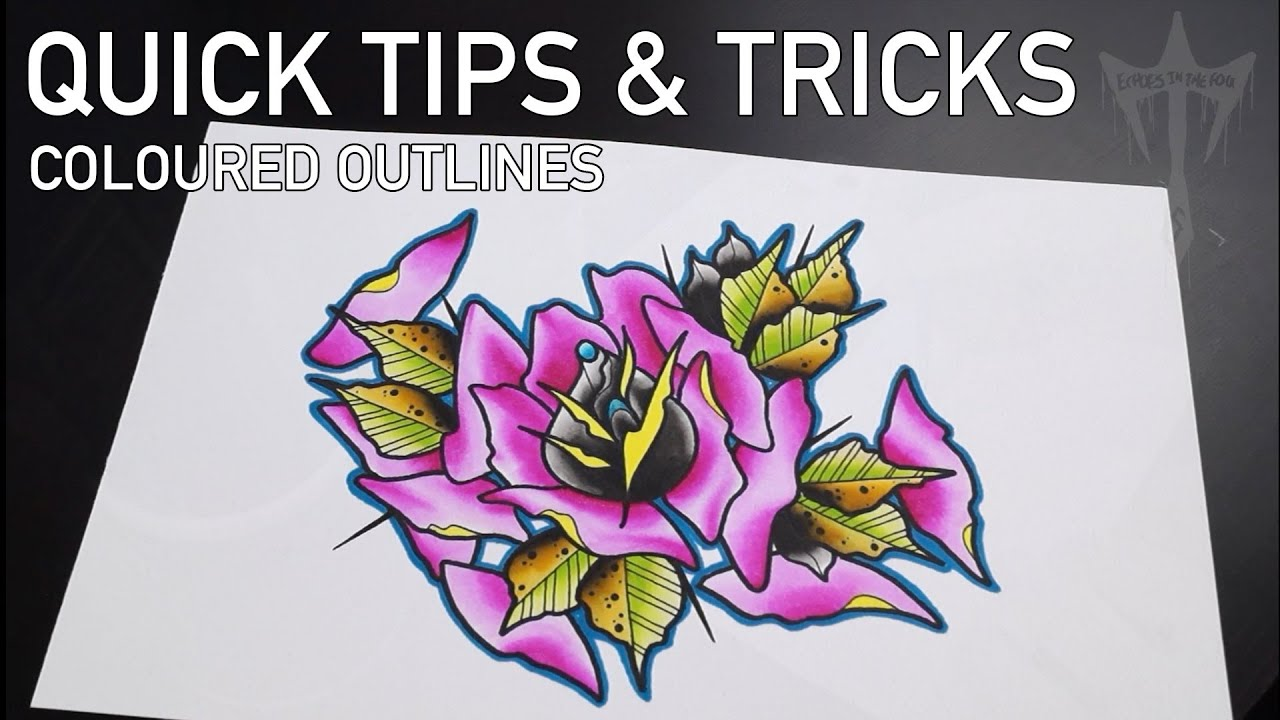 Quick tips and tricks coloured outlines watercolour inks for Watercolour tips and tricks