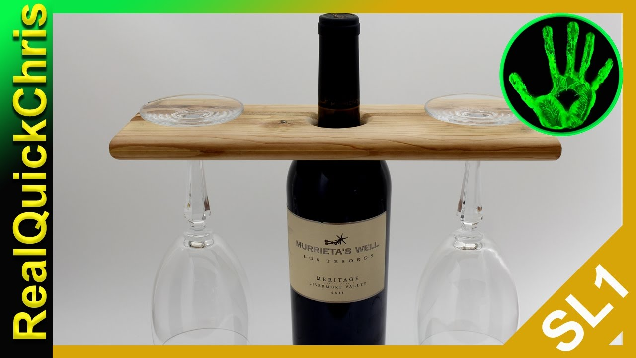 Easy Diy Wooden Wine Bottle Glass Holder Youtube