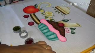 Pintura em pano de copa riscado