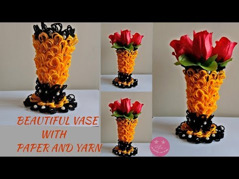 Beautiful vase using paper and yarn/wool | Paper vase | woolen vase | Carton box craft