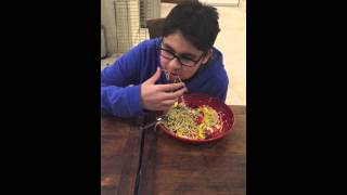 Niam's Journey/ Eating Pasta With Pesto ,peppers ,sun Dried Tomatoes Olives Feta