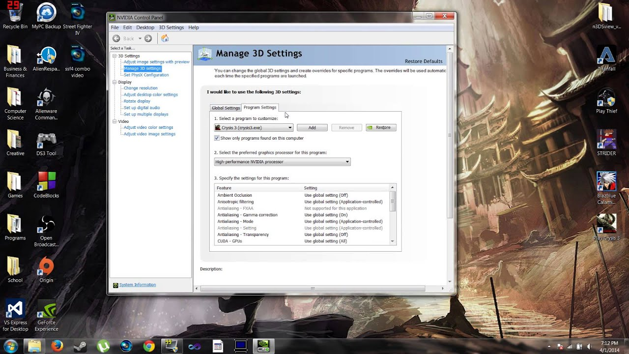 Nvidia Control Panel How to Set The Preferred Graphics Processor for Best  Game Settings 2015