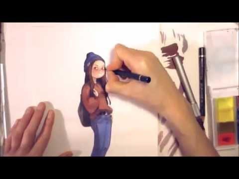 Watercolor Girl character Illustration timelapse progress art by Iraville