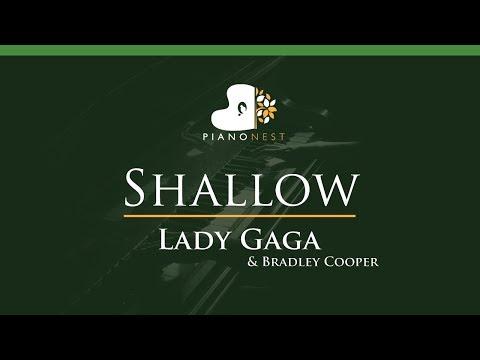 Lady Gaga Bradley Cooper - Shallow - LOWER Key Piano Karaoke  Sing Along