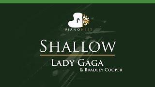 Lady Gaga, Bradley Cooper - Shallow - LOWER Key (Piano Karaoke / Sing Along)