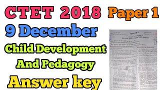 CTET 2018: Answer key: Child development and Pedagogy ( paper 1)