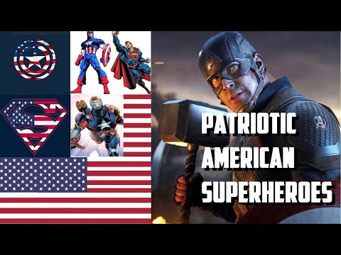 Patriotic American Comicbook Superheroes: Superman, Captain America and Iron Patriot