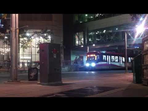 Siemens S200 C-Train in Downtown Calgary at Night