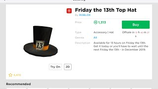 SHOULD YOU BUY THE FRIDAY THE 13TH TOP HAT? (ROBLOX)