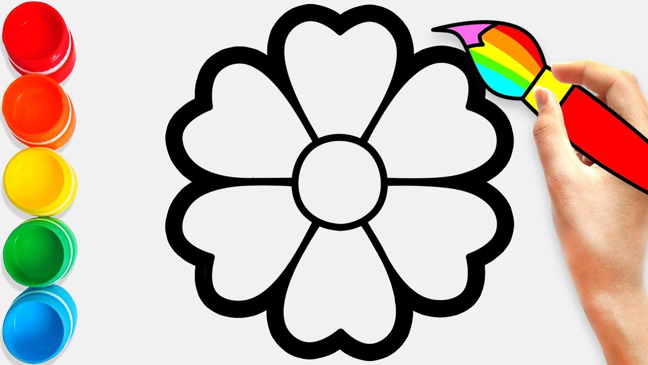 Coloring Rainbow Flower Bunga Belajar Menggambar dan Mewarnai untuk Anak