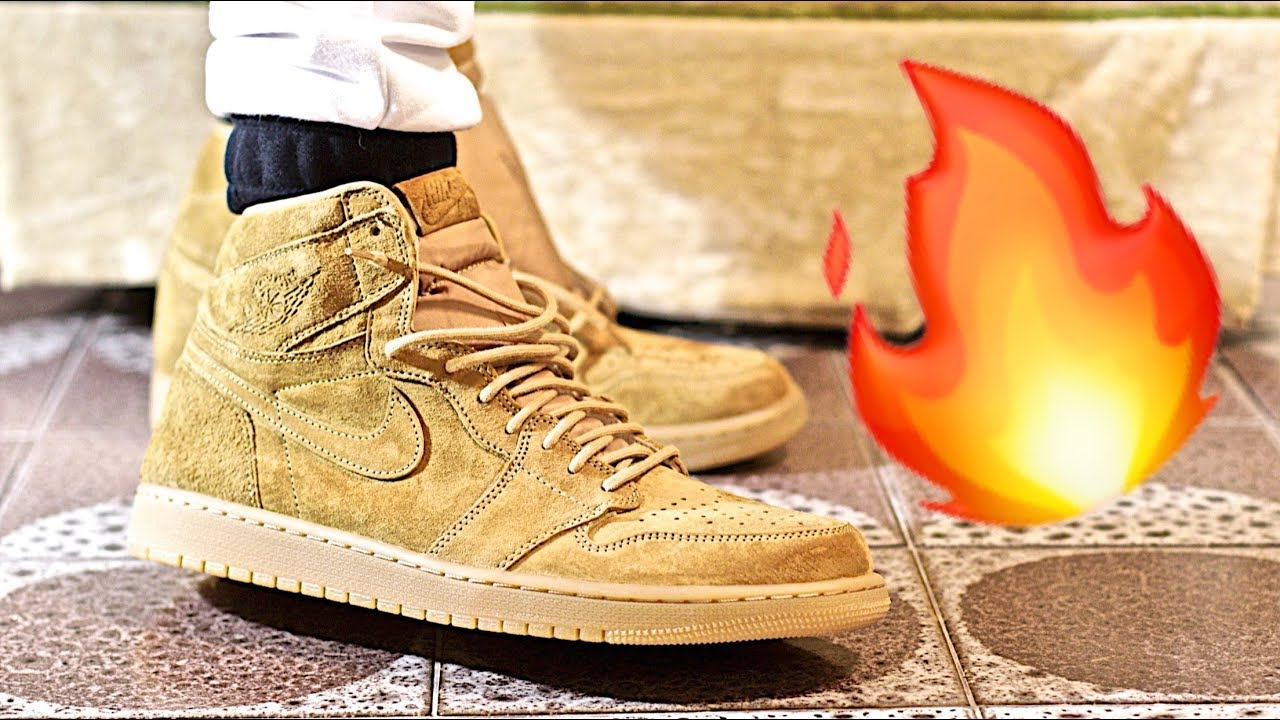 "fresh styles size 40 presenting Nike AIR JORDAN 1 HIGH OG Golden Harvest ""WHEAT PACK"" Sneaker Unboxing and  Review"