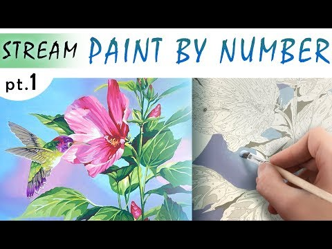Paint by number! DIMENSIONS Hibiscus Hummingbird! Part 1! EASY way to create your own masterpiece!