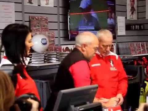 Sky presenters in the shop at Dean Court