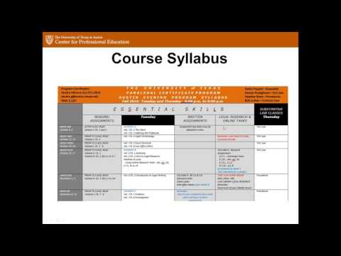 University of Texas at Austin Paralegal Certificate Program Information Session - September 2016