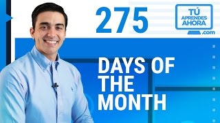 CLASE DE INGLÉS 275 Days of the month