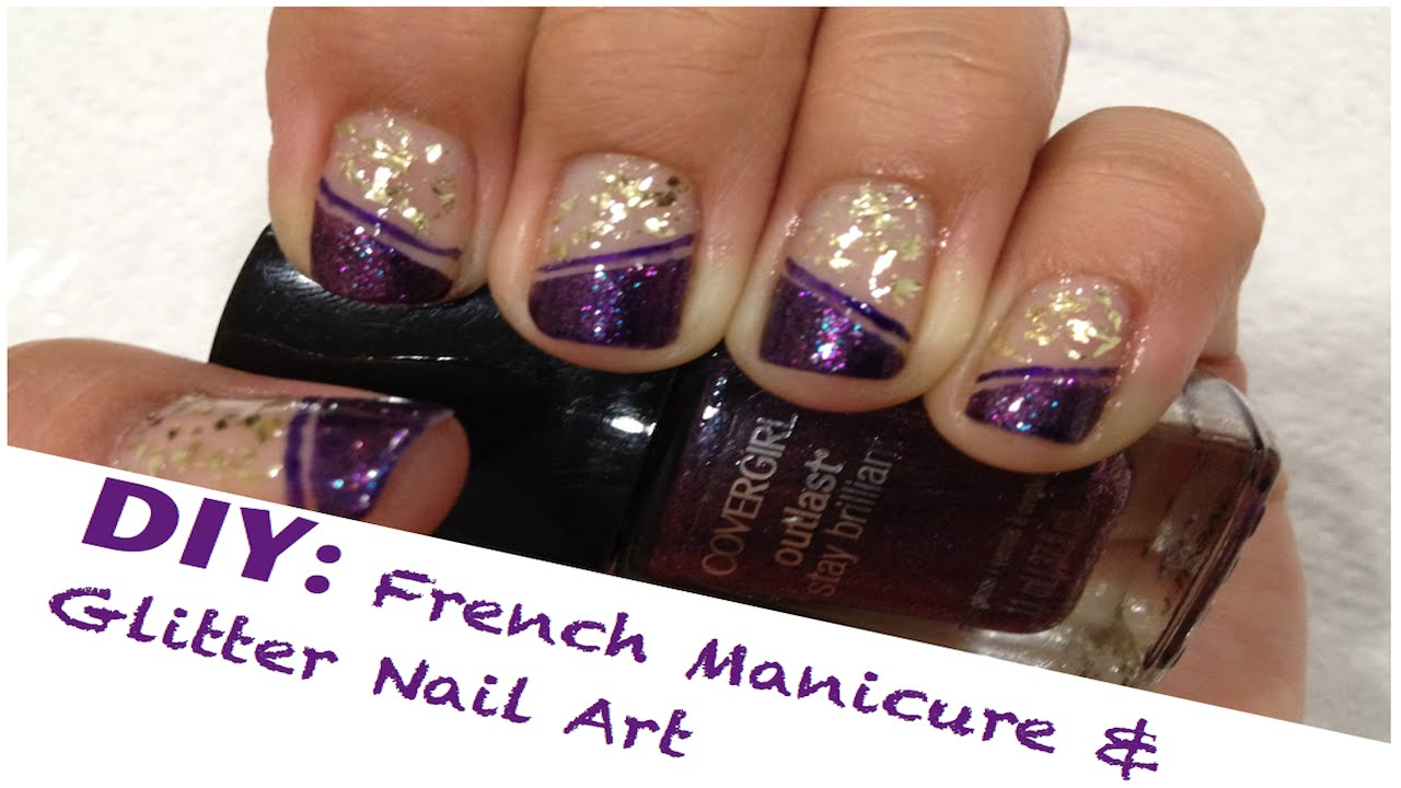 Diy french manicure glitter nail art using tape youtube solutioingenieria Choice Image