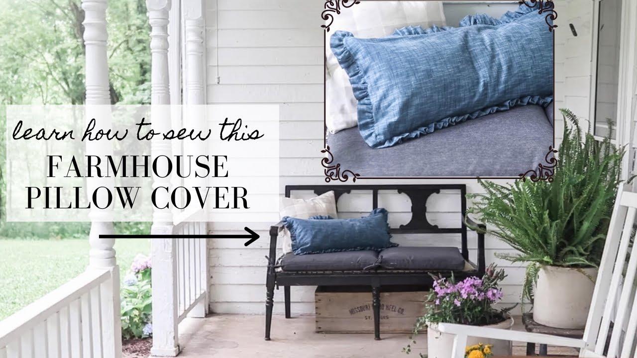 DIY Farmhouse Throw Pillows | Ruffle Linen cover sewing tutorial