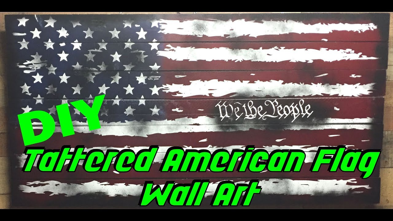 Creating A Large Tattered American Flag With Spray Paint And