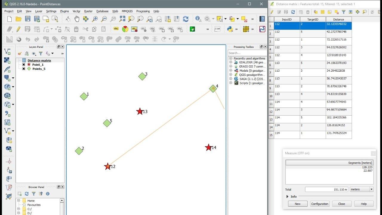 QGIS - Distance Matrix - Point Distance - Compute distances between several  other points